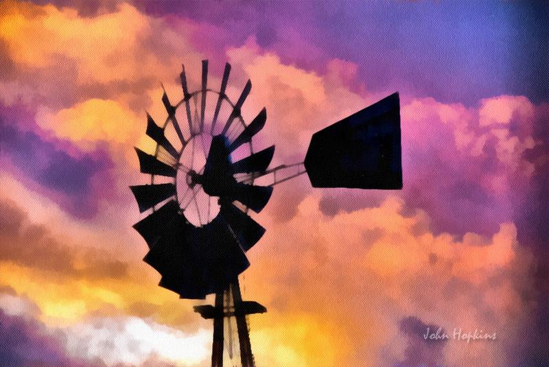 Hopkins Studio Works   Photo Paintings / Art   Backlit Windmill